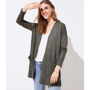 LOFT Linen Blend CREAM Pocket Duster Sweater